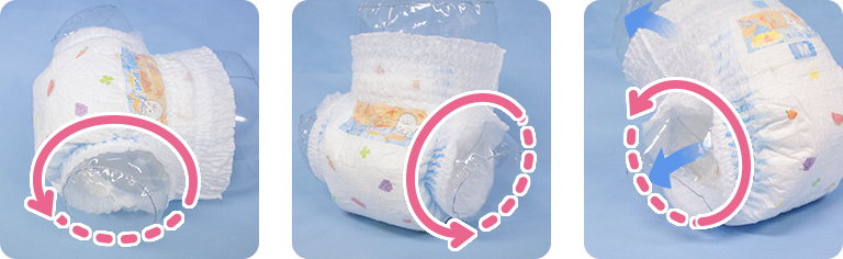 A diaper design that stops leaks -- Only with MamyPoko. No need to worry!